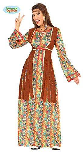 Guirca- Costume Hippie Donna Figli dei Fiori, Multicolore, M, 88289