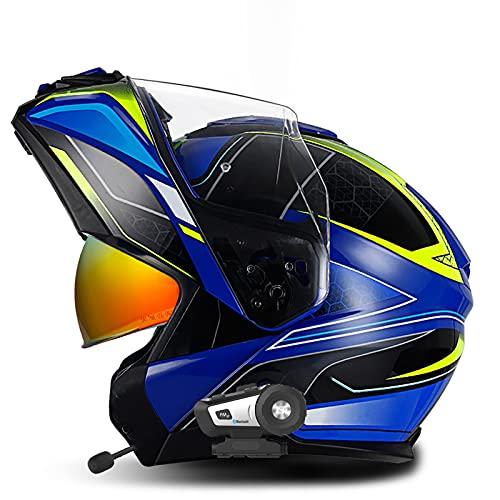 Bluetooth Modular Flip Up Full Face Casco ECE 22-05 Homologado para Motocicleta...