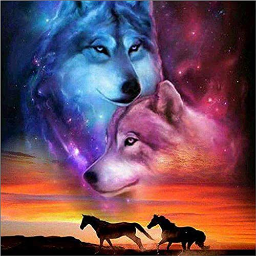 5D DIY Diamond Painting Kits for Beginner Star Wolf Adults Full Drill Crystal Rhinestone Diamond Paintings Embroidery Cross Stitch Arts Craft Canvas Wall Decor 80x80cm/32x32in