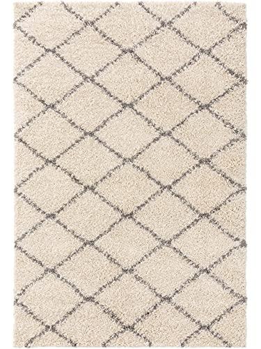 Benuta Alfombra de Pelo Largo Soho Shaggy de Pelo Largo para salón, mullida, Moderna, Lavable, Color Crema, 120 x 170 cm