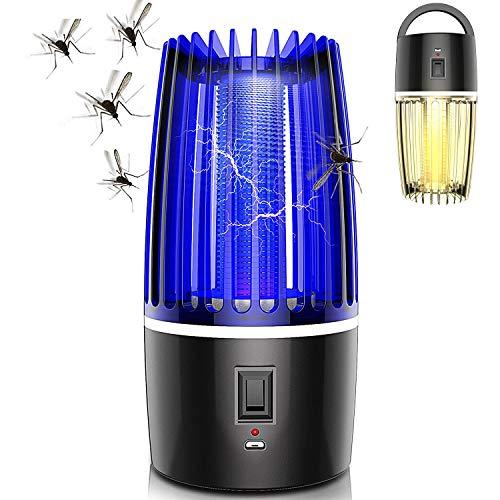 GNHOME Elektrischer Insektenvernichter, Insektenfänger Fliegenfalle mit UV-Licht, Tragbare Insektenlampe LED Elektrische Mückenfalle Moskito Killer Mückenschutz USB Wiederaufladbar