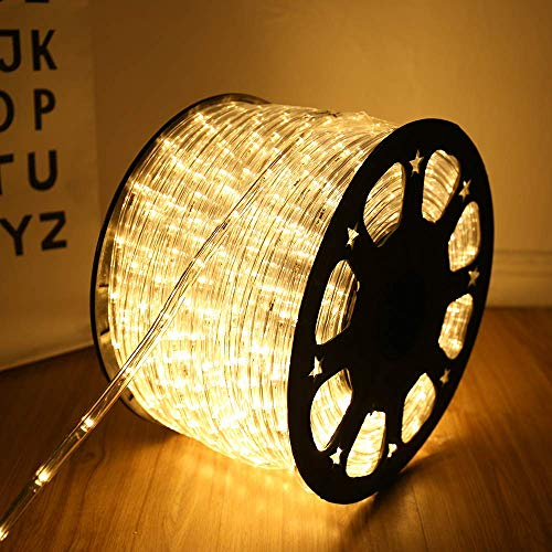 100 Feet 720 LED Rope Lights,2-Wire Low Voltage Waterproof Rope Lights Outdoor ,Indoor Background Lighting Idear for Trees,Bridges,Eaves,Pool,Wedding Use(Warm White)
