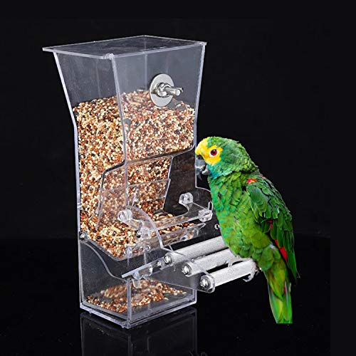 Ajcoflt Alimentador de pássaros para gaiola, alimentador de pássaros, caixa de alimentação de pássaros, papagaio, alimentador de alimentos, recipiente para alimentação externa, alimentador de pássaros, acessórios para gaiola de poleiro
