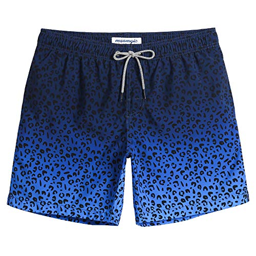 MaaMgic Mens Slim Fit Quick Dry Swim Shorts Leopard Swim Trunks Mens Bathing Suits with Mesh Lining