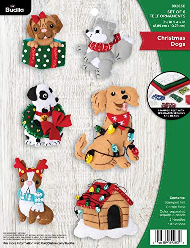 Bucilla Felt Applique Ornament Kit, Christmas Dogs, Set of 6