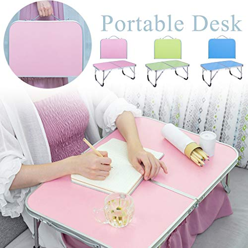 Adjustable Laptop Bed Table, Portable Standing Desk, Foldable Sofa Breakfast Tray, Notebook Stand Reading Holder for Couch Floor Kids - Folding Table (Pink)