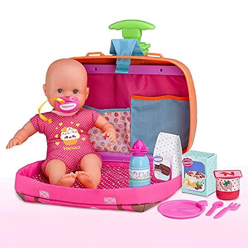 Nenuco - Siempre Conmigo, Maletín trolley con ruedas y asas para llevar a todas partes como mochila, bebe Nenuco y accesorios médicos y de cuidado que se guardan en compartimentos. FAMOSA (700013791)