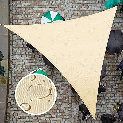 Garten Segel Baldachin, Dreieck Sonnensegelschirm mit Befestigungssatz, 3 Seile, Wasserdicht, UV-Block, Rechtwinkliger Gartenschirm Segelt Sonnenschutzmarkisen für Außenterrassen,Beige-3.6x3.6x3.6m