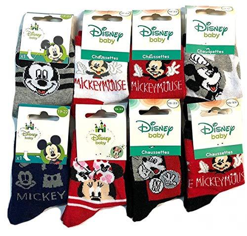 Lot de 12 Paires Chaussettes Disney MICKEY MOUSE Image Imprimé Doux pour Bébé (19-22)