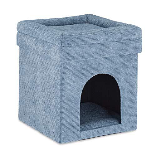 Relaxdays Katzenhöhle Hocker, Versteck für Katzen & kleine Hunde, Kissen, faltbar, Sitzhocker, HBT 42 x 38 x 38 cm, grau