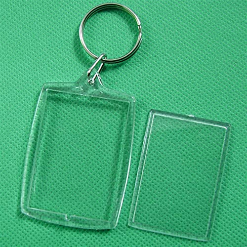 TYLC 10 Pcs Keychain Key Chain Rings Blank Clear Transparent Acrylic Picture Frames (Color : As shown, Size : 10pcs)