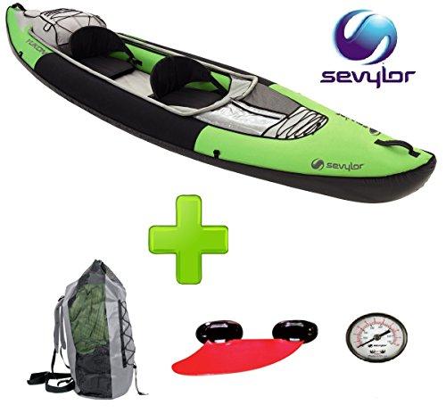 Canoa Kayak Modelo Yukon marca Sevylor 2plazas–Incluye aleta direzionabile–Manómetro y bolsa para el transporte