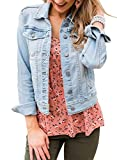 LookbookStore Denim Jacket for Women Fall Clothes Classic Trucker Jackets Basic Long Sleeves Button Down Fitted Stretchy Denim Jean Jackets for Women Light Blue Size L
