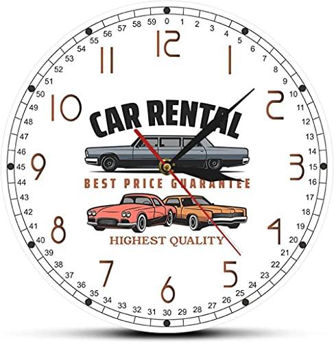 Decoración grande Reloj de pared Alquiler de coches Business Logo Muro Reloj de pared Alquiler de coches Oficina Decoración de pared Art Garaje Reloj de pared Mecánico personalizado Regalo fácil de le