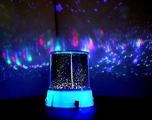 Huaha Lightbox Colorful Twilight Romantic Sky Star Master Projector Lamp Starry LED Night Light Amazing Bed Side Gift Body (Blue)