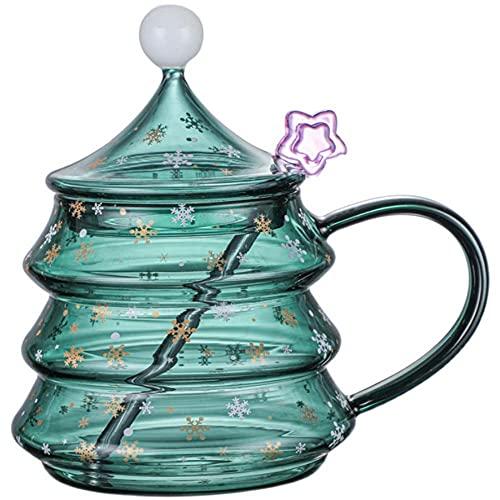 Vaso de copo de nieve verde, precioso árbol de Navidad, vaso de leche de café con tapa, cuchara agitadora de cristal, Navidad, día de la madre,regalo de inauguración de la casa del día de San Valentín