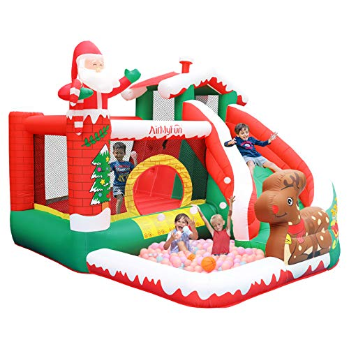 AirMyFun Christmas Bounce House,Snow House Santa Claus Bounce Castle with Air Blower, Jumping & Slide with Ball Pit