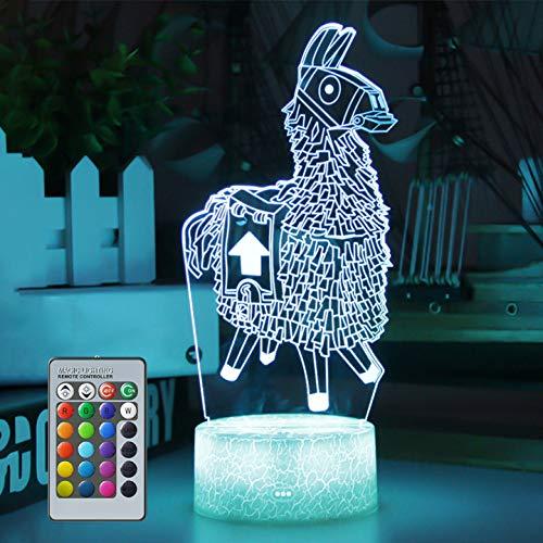 Luz de noche de alpaca 3D, luz de noche de ilusión de lámpara LED USB para niña, 16 colores que cambian con control remoto para niños