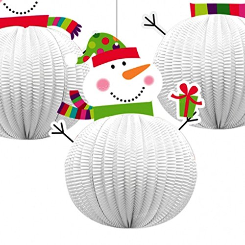 3 x Honeycomb Jolly Snowman 3D Xmas Hanging Party Festive Decorations Christmas Ceiling Window Wall 20.3cm Tall Paper and Card Three Designs