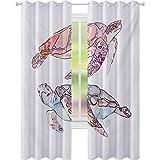 Paneles de cortina opaca para ventana, pintado a mano con acuarela de dos tortugas pastel lindo tema subacuático, W52 x L72 drapeado opaco para comedor, rosa fucsia púrpura