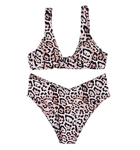 Bikini sexy para mujer, 2 piezas, con diseño de leopardo y nudo Estampado De Leopardo M