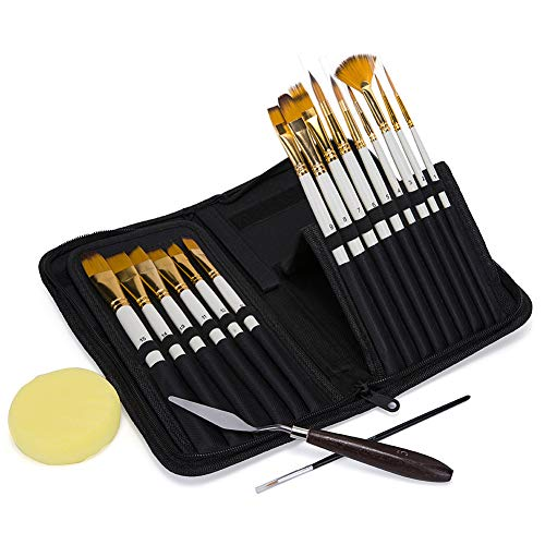 Artist Paint Brush Set, Oil-15 Different Sizes Nice Gift for Artists, Metal Ring Made of Copper Tubes, Free Painting Knife,Watercolor Sponge and a Detail Brushes (White)