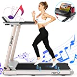 FUNMILY Folding Treadmill, Electric Treadmill with Table Holder, 2.25HP Motorized Treadmill with Bluetooth Speaker, Multifunctional Running Machine for Office Home Gym