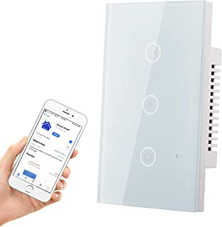 HHGAOKO WiFi Smart Curtain Switch,Automatic Blind Opener Wall Touch Panel Switch,Jinvoo APP,Compatible with Alexa and Google Assistant(White)