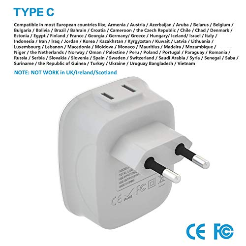 [3-Pack] European Travel Plug Adapter, VINTAR International Power Adaptor with 2 USB Ports,2 American Outlets- 4 in 1 European Plug Adapter for France, Germany, Greece, Italy, Israel, Spain (Type C)
