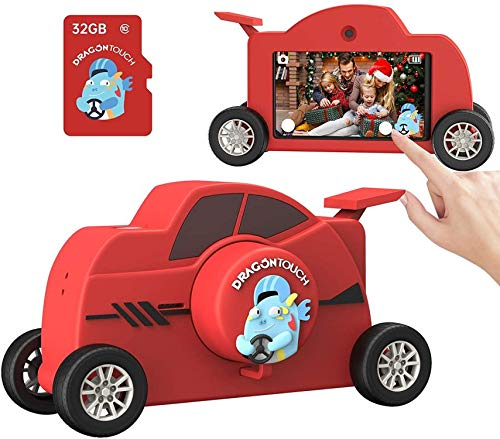 Dragon Touch Kinder Kamera WiFi Digitalkamera Kinder 48MP 3 Zoll Touchscreen USB Wiederaufladbar Fotokamera Selfie und Videokamera mit 32GB-Karte Jungen und Mädchen Spielzeug für 3-12 Jahre WT01