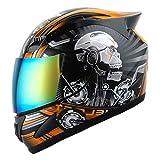 1Storm Motorcycle Bike Full FACE Helmet Mechanic Skull - Tinted Visor Orange