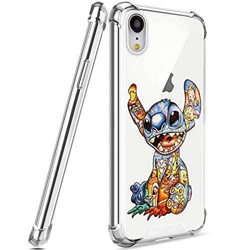DISNEY COLLECTION Designed for iPhone XR Case 6.1 Inch (2018) Colorful Stitch [Shock-Skid] [Scratch-Resistant] [Military Grade Protection] Hard PC + Flexible TPU Crystal Clear Cover Case