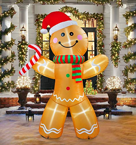 8Ft Inflatable Christmas Ginger Bread Man Decoration Inflatable with LED Light for Home Yard Lawn Outdoor Indoor