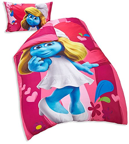 The Smurfs Movie Single Duvet Cover Quilt Set with Pillowcase, Pink