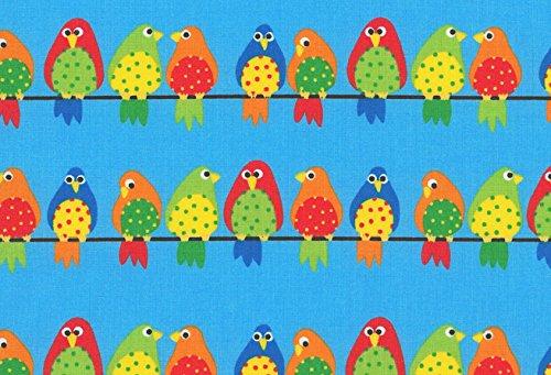 Stoff\'l - FEINES FÜR KINDER Westfalenstoffe * Vögel auf der Leine 0,5m * Kinderstoff * Patchworkstoff * Naturstoffe