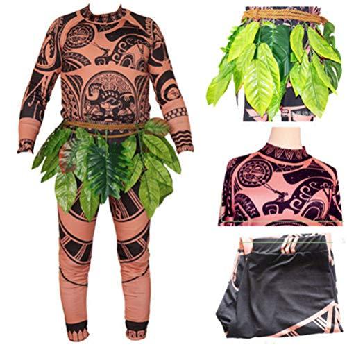 Disfraz familiar para Halloween, cosplay, disfraz de Moana Maui, tatuaje, camiseta y pantalón, faldón de hojas para adultos y niños.