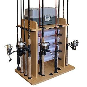 Rush Creek Creations 14 Fishing Rod Rack with 4 Utility Box Storage Capacity - Fishing Pole, Tackle Box, and Equipment Holder, Wood Grain Laminate