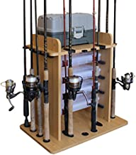 Rush Creek Creations 14 Fishing Rod Rack with 4 Utility Box Storage Capacity - Fishing Pole, Tackle Box, and Equipment Holder, Wood Grain Laminate (38-2002)