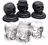 Skull Ice Mold, Pop 3D Flexible Large Round Cube Ball Silicone Tray Maker for Holiday Party, Halloween, 3 Pack, Black