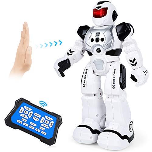 Auney Robot de Control Remoto para niños, Inteligente RC Robot Juguete Gestos Control Robots (Negro)