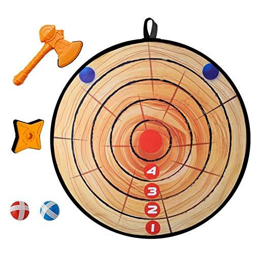 lossomly Kinder Sicher Stoff Dart Brettspiel Set Ring Wurfspiel Mit 6 Klebrigen Bällen, 3 Sicherheitspfeilen Und 3 Spielzeug Axt Indoor Outdoor Party Werfen Spiel Für Kinder Sicherheit (71cm)