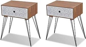 vidaXL 2X Table de Chevet avec Tiroir Marron Table de Nuit Meuble de Rangement