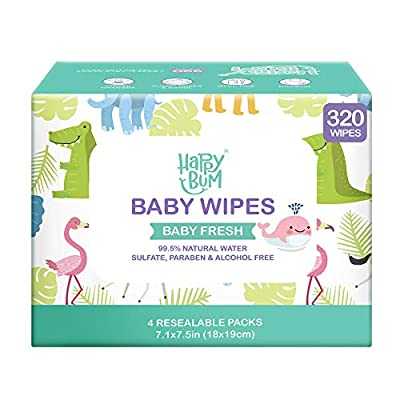 Baby Wipes, HAPPY BUM Water Baby Wipes, Wet Wipes for Nose, Face, Hand and Body, Hypoallergenic and Unscented, 4 Packs, 320 Count. by HAPPY BUM