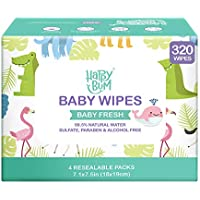 320-Count Happy Bum Water Baby Wet Wipes or Nose, Face, Hand and Body