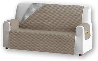 Unishop Housse de canapé matelassée réversible pour animaux domestiques, meubles, poudres (Beige, 3 places)