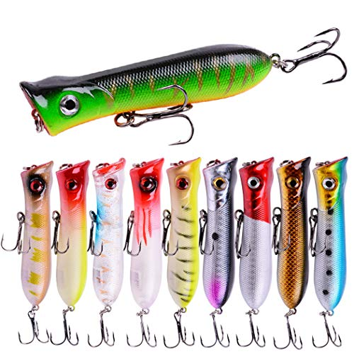 Aorace 10Pcs/Lot 8.5cm 11g Artificial Fishing Lures Kit 3D Eyes Hard Popper Lures for Saltwater Freshwater