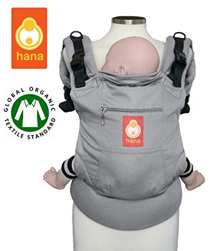 Hana, zaino porta bimbo, in cotone biologico, adatto a posizionamento sul petto e sulla schiena, sostiene dai 3,5 ai 20 kg