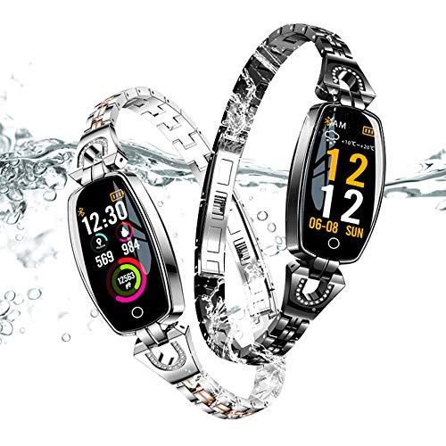 Fitness Trackers with Blood Pressure Monitor, 2 Pcs Luxury Fashion Charm Waterproof Smart Watch Heart Rate Monitor Sleep Activity Trackers Mothers Day Jewelry Gifts for Women Men