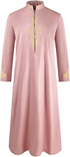 GaoYunQin Hommes Arabe Islamique Manche Longue Broderie Décalcomanie Thobe Col Montant Robe Caftan Robes