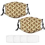 Nuberyl Lot de 2 masques de Noël unisexes en pain d'éginger-bread avec bandana, cagoule, écharpe, cache-cou réglable, 4 filtres remplaçables, protection contre les UV et la poussière